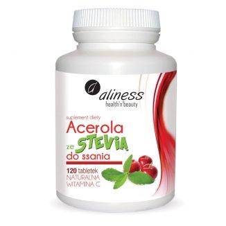 Medicaline, Aliness, Acerola ze Stewią do ssania, 120 tabletek - zdjęcie produktu
