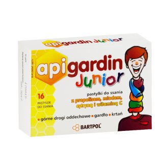 Api Gardin Junior, z Propolisem, miodem, cytryną i witaminą C, 16 pastylek do ssania - zdjęcie produktu