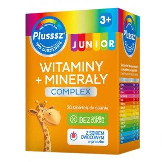 Plusssz Junior, dla dzieci powyżej 3 roku życia, smak malinowy, 30 tabletek do ssania - zdjęcie produktu