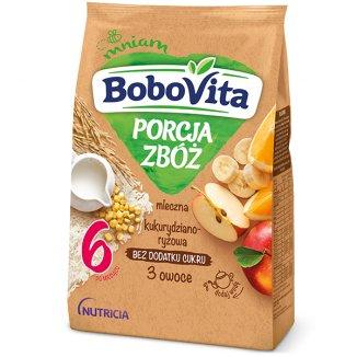 BoboVita Porcja Zbóż Kaszka kukurydziano-ryżowa, 3 owoce, mleczna, bez dodatku cukru, po 6 miesiącu, 210 g - zdjęcie produktu
