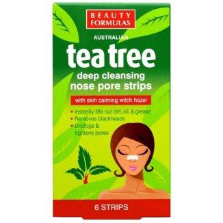 Beauty Formulas Tea Tree, paski głęboko oczyszczające na nos, 6 sztuk - zdjęcie produktu
