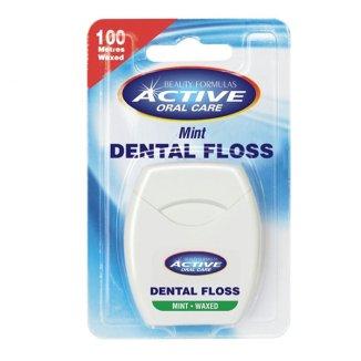 Beauty Formulas, Active Oral Care, nić dentystyczna, miętowa woskowana, 100m - zdjęcie produktu