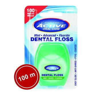 Beauty Formulas, Active Oral Care, nić dentystyczna, miętowa woskowana z fluorem, 100m - zdjęcie produktu