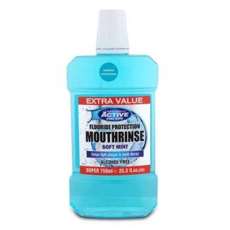 Beauty Formulas, Active Oral Care, płyn do płukania jamy ustnej z fluorem, Soft Mint, 750 ml - zdjęcie produktu