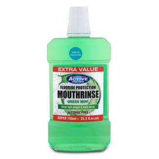 Beauty Formulas, Active Oral Care, płyn do płukania jamy ustnej bezalkoholowy, Green Mint, 750 ml - zdjęcie produktu