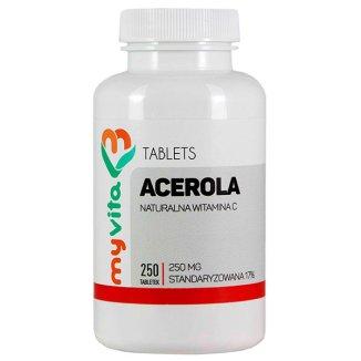 MyVita, Acerola 250 mg, naturalna witamina C, 250 tabletek - zdjęcie produktu