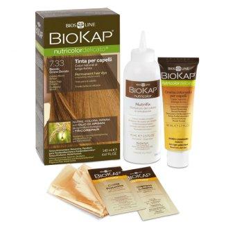 Biokap Nutricolor Delicato+, farba koloryzująca do włosów, 7.33+ pozłacany blond, 140 ml - zdjęcie produktu