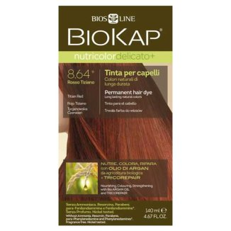 Biokap Nutricolor Delicato+, farba koloryzująca do włosów, 8.64+ tycjanowska czerwień, 140 ml - zdjęcie produktu