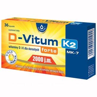 D-Vitum Forte 2000 j.m. K2 MK-7, 36 kapsułek - zdjęcie produktu