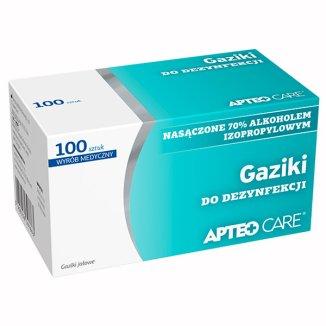 Apteo Care, gaziki do dezynfekcji, 3 cm x 3 cm, 100 sztuk - zdjęcie produktu