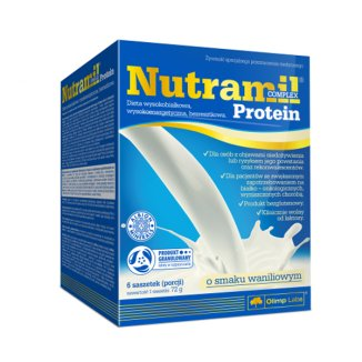Olimp Nutramil Complex Protein, preparat odżywczy, smak waniliowy, 72 g x 6 saszetek - zdjęcie produktu