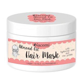 Nacomi, maska do włosów z olejem ze słodkich migdałów, kwasem hialuronowym i proteinami ryżu, 200 ml - zdjęcie produktu