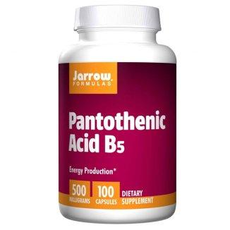 Jarrow Formulas Pantothenic Acid B5, kwas pantotenowy 500 mg, 100 kapsułek - zdjęcie produktu