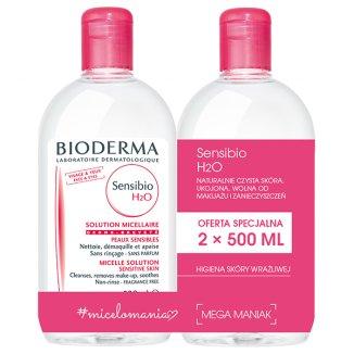 Zestaw Bioderma Sensibio H2O, płyn micelarny do skóry wrażliwej, 2 x 500 ml - zdjęcie produktu