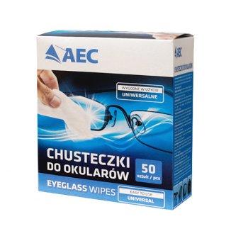AEC, chusteczki do czyszczenia okularów, 50 sztuk - zdjęcie produktu