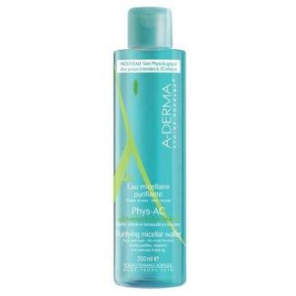 A-Derma Phys-AC, oczyszczająca woda micelarna, skóra skłonna do trądziku, 200 ml - zdjęcie produktu