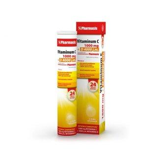 Pharmasis Vitaminum C 1000 mg + D 4000 j.m, smak cytrynowy, 24 tabletki musujące - zdjęcie produktu