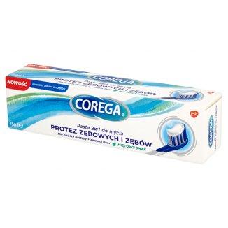 Corega, pasta 2w1 do mycia protez zębowych i zębów, smak miętowy, 75 ml - zdjęcie produktu