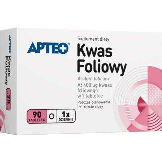 Apteo Kwas foliowy 400 µg, 90 tabletek - zdjęcie produktu