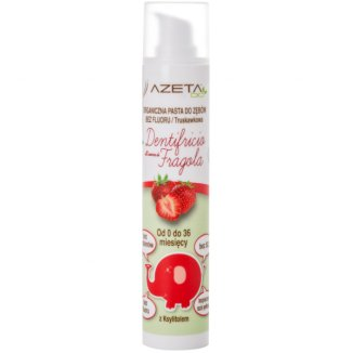 Azeta Bio, organiczna pasta do zębów dla dzieci, 0-36 miesięcy, bez fluoru, truskawkowa, 50 ml - zdjęcie produktu