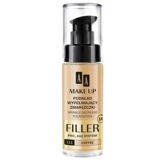 AA MakeUP, podkład wypełniający zmarszczki Filler, nr 111, coffee, 30 ml - zdjęcie produktu