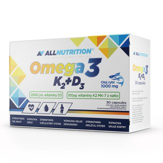 Allnutrition Omega 3 K2 + D3, olej rybi 1000 mg + witamina K 100 µg + witamina D 2000 j.m., 30 kapsułek - zdjęcie produktu