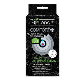 Bielenda Comfort +, skarpety antyperspirant, węgiel i biała glinka, 2 sztuki - zdjęcie produktu