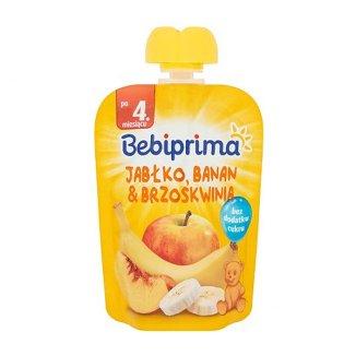BebiPrima, Deserek w tubce, jabłko, banan i brzoskwinia, po 4 miesiącu, 90 g - zdjęcie produktu