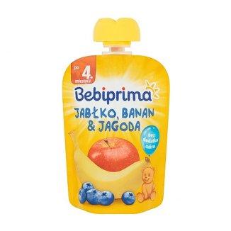 BebiPrima, Deserek w tubce, jabłko, banan & jagoda, po 4 miesiącu, 90 g - zdjęcie produktu