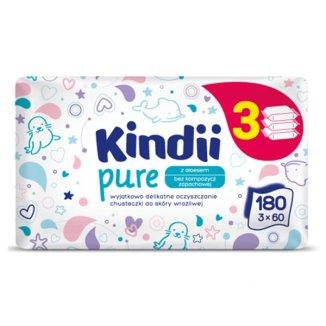 Cleanic Kindii, Pure, chusteczki nawilżane dla noworodków i niemowląt, 3 x 60 sztuk - zdjęcie produktu