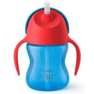 Avent, kubek ze słomką i uchwytami, niebieski, SCF796/01, od 9 miesiąca, 200 ml - zdjęcie produktu