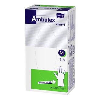 Ambulex Nitryl, rękawice nitrylowe, niejałowe, bezpudrowe, białe, rozmiar M, 100 sztuk - zdjęcie produktu