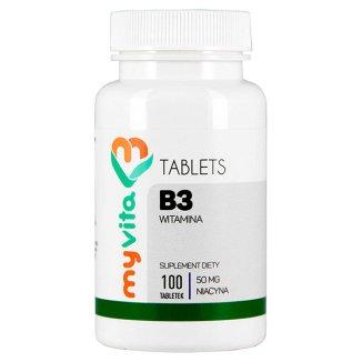 MyVita Witamina B3, niacyna 50mg, 100 tabletek - zdjęcie produktu