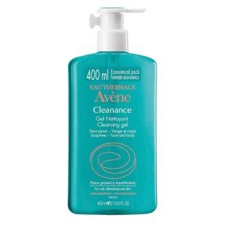 Avene Cleanance, żel oczyszczający do twarzy i ciała, skóra tłusta ze skłonnością do niedoskonałości i trądziku, 400 ml - zdjęcie produktu