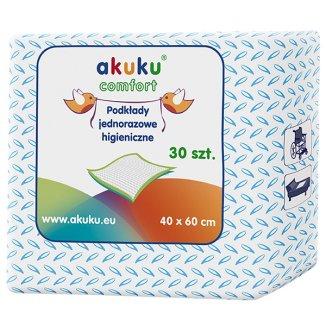 Akuku, podkłady higieniczne jednorazowe, 40 x 60 cm, 30 sztuk - zdjęcie produktu