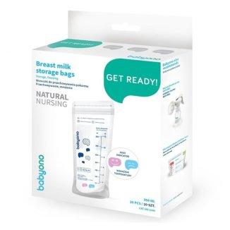 BabyOno Natural Nursing, woreczki do przechowywania pokarmu ze wskaźnikiem temperatury, 350 ml x 20 sztuk - zdjęcie produktu