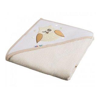 Akuku, okrycie kąpielowe z kapturem, 80 x 80 cm, 100% bawełny, ecru sowa, 1 sztuka - zdjęcie produktu