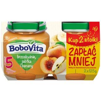 BoboVita, Deser, Pierwsza łyżeczka, Jabłka, banany i brzoskwinie, po 5 miesiącu, 2 x 125 g - zdjęcie produktu