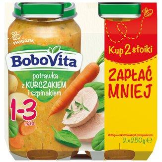 BoboVita, Obiadek Junior, potrawka z kurczakiem i szpinakiem, od 1-3 lat, 2 x 250 g - zdjęcie produktu