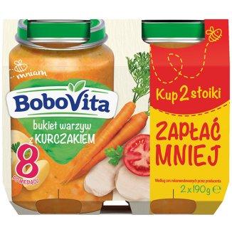BoboVita, Obiadek, bukiet warzyw ze złotym kurczakiem, po 8 miesiącu, 2 x 190 g - zdjęcie produktu