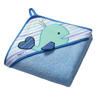 BabyOno, okrycie kąpielowe z kapturkiem, 100 x 100 cm, frotte, niebieskie, 1 sztuka - zdjęcie produktu