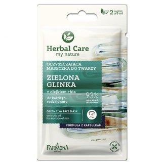 Farmona Herbal Care, maseczka oczyszczajaca do twarzy, zielona glinka, 2 x 5 g - zdjęcie produktu