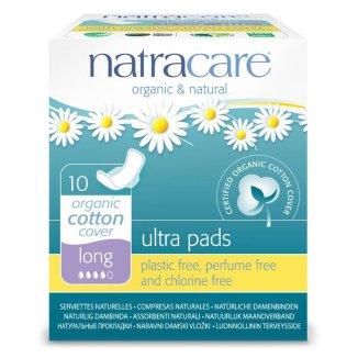 Natracare Ultra, podpaski higieniczne z bawełny ekologicznej, ze skrzydełkami, Long, 10 sztuk - zdjęcie produktu