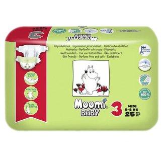 Muumi Baby, Pieluszki, rozmiar 3, Midi, 5-8 kg, 25 sztuk - zdjęcie produktu