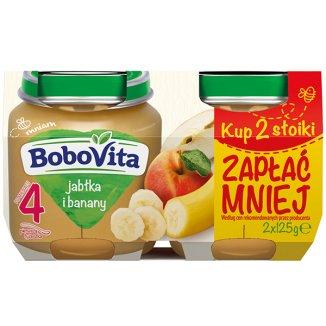BoboVita, Deser, Pierwsza łyżeczka, Jabłka i banany, po 4 miesiącu, 2 x 125 g - zdjęcie produktu