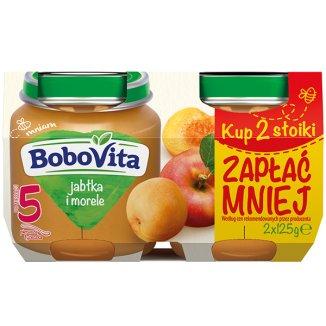 BoboVita, Deser, Pierwsza łyżeczka, jabłka, morele, po 5 miesiącu, 2 x 125 g - zdjęcie produktu