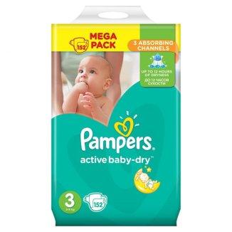 Pampers Active Baby-Dry, pieluchy rozmiar 3, Midi, 5-9 kg, 152 sztuki - zdjęcie produktu