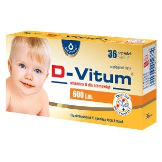 D-Vitum 600 j.m., witamina D dla niemowląt od 6 miesiąca, 36 kapsułek twist-off - zdjęcie produktu