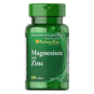 Puritans Pride Magnesium with Zinc, magnez z cynkiem, 100 tabletek - zdjęcie produktu