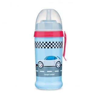 Canpol Babies, bidon niekapek z silikonową rurką, Racing, ciemnoniebieski, od 12 miesiąca, 350 ml - zdjęcie produktu